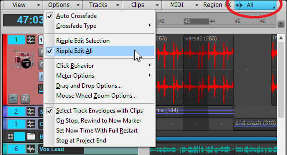 Image of Cakewalk screen shot that allows for choosing between two ripple editing modes.