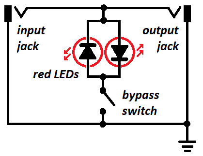Schematic of transient tamer that shows two LEDs connected back to back, and input and output jacks.