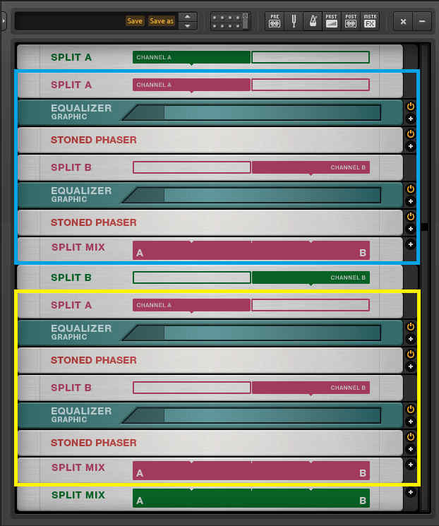 This shows several modules from Native Instruments' Guitar Rig, arranged to provide signal splits and multiband phasing.