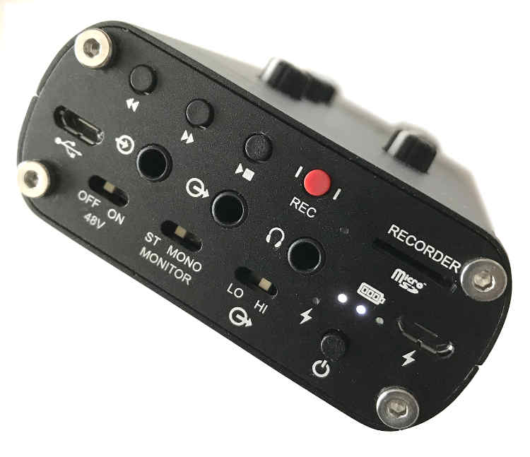 Image of the other side of the R4r, which includes transport buttons for the SD recorder, two USB ports, line in/out minijacks, headphone minijack, and switches for phantom power, stereo/mono monitoring, and low/high line input level.