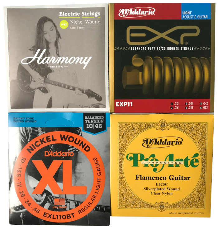 Four packages that contain strings from different manufacturerd