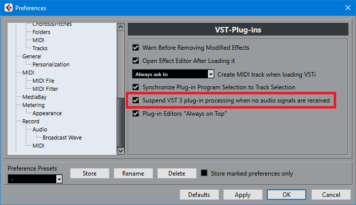 Screen shot shows the option in Cubase 9.5's preferences to suspend VST3 processing if there's no audio going through the plug-in.