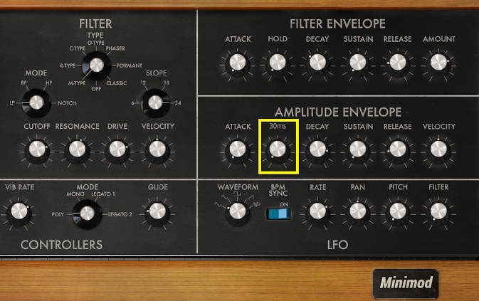 Screen shot of IK Multimeida Minimod virtual instrument knob settings for the filter and amplitude envelope generators.