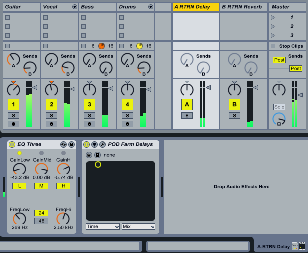 Sends and aux buses set up in Ableton Live, showing how different tracks have different amounts of sends.