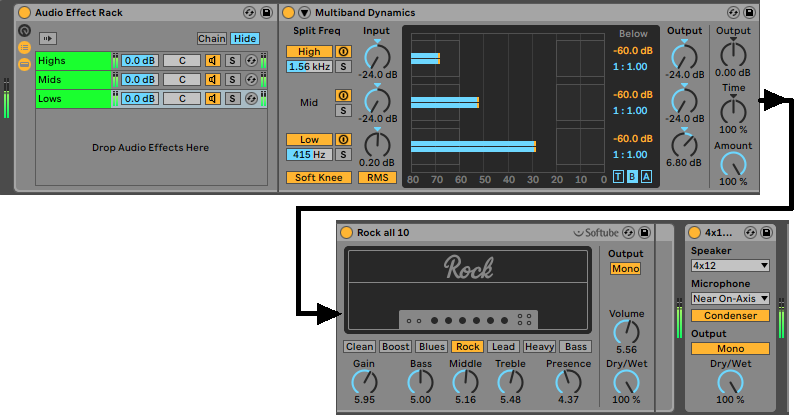 Processing modules used in an Ableton Live rack dedicated to processing low frequencies.