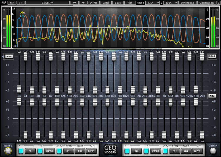 Screenshot of Waves graphic EQ plug-in