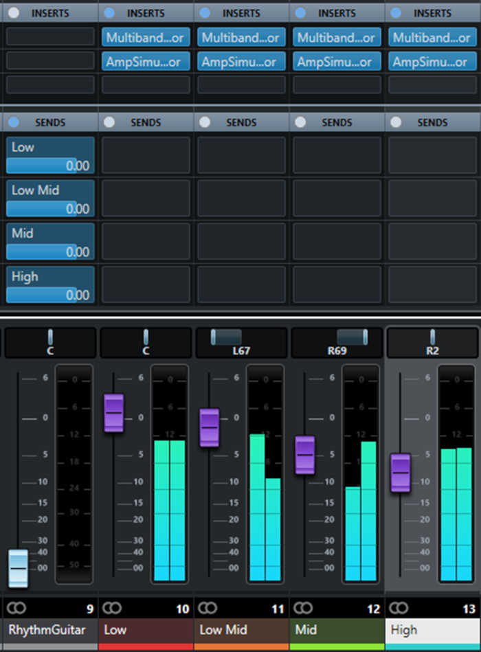 Mixer setup in Steinberg Cubase, showing FX Channels for four frequency bands.