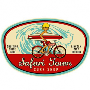 Safari Town Surf Bike & Surf Sticker