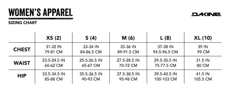 Dakine Women's Size Chart