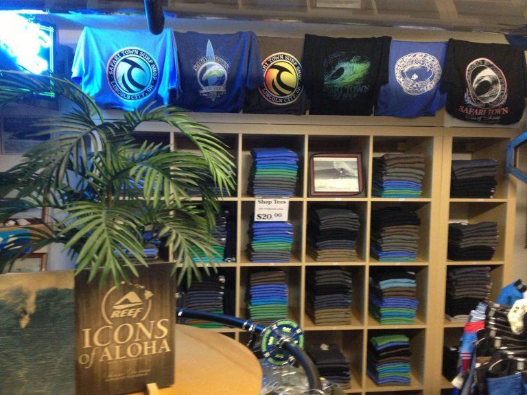 Inside Safari Town Surf Shop