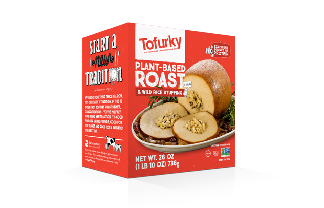 Tofurky plant based roast and wild rice stuffing