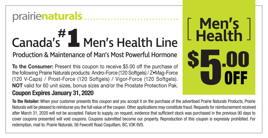 $5 OFF Coupon for Prairie Naturals Men's Line