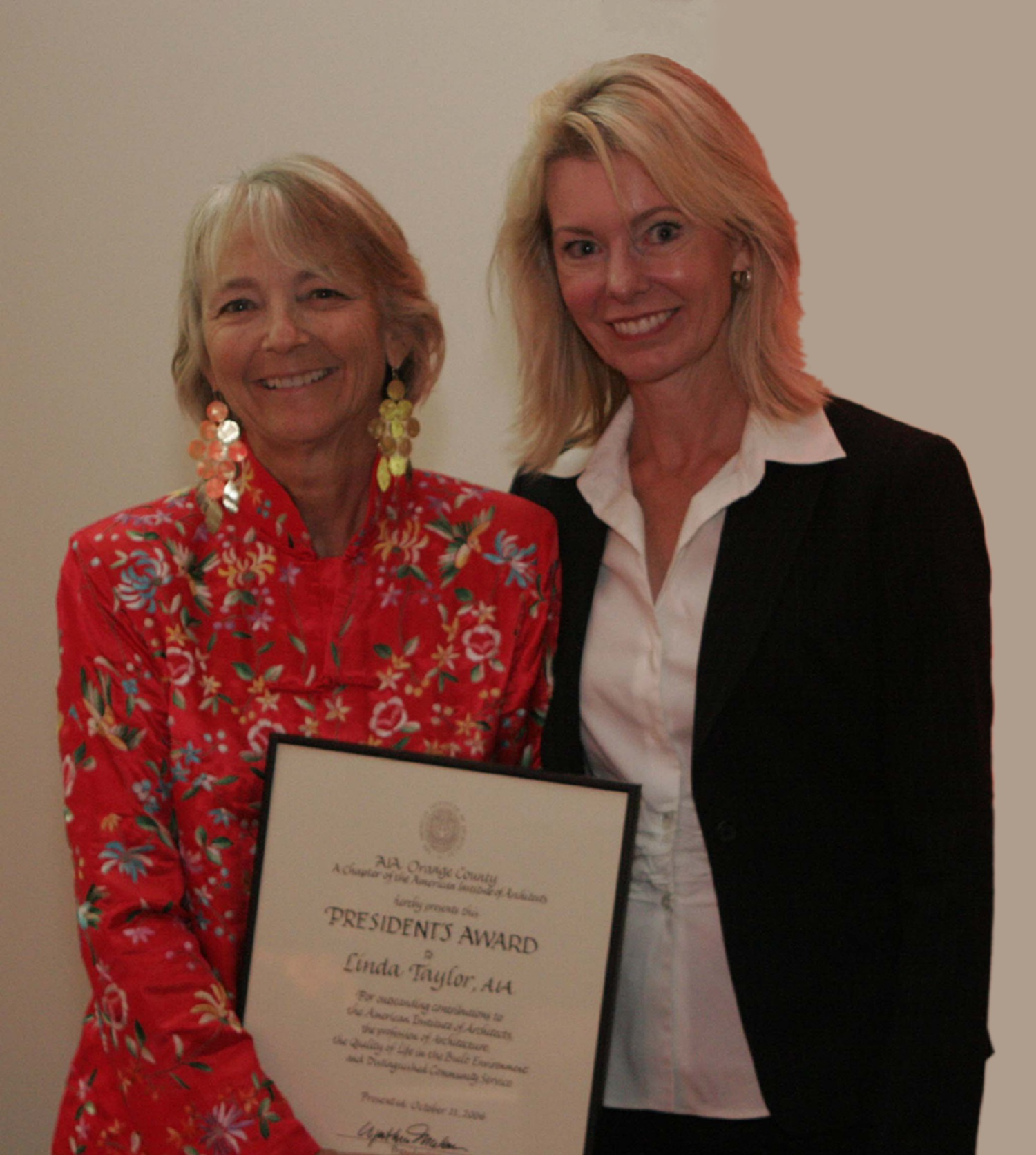 Linda Taylor AIAOC President's Award