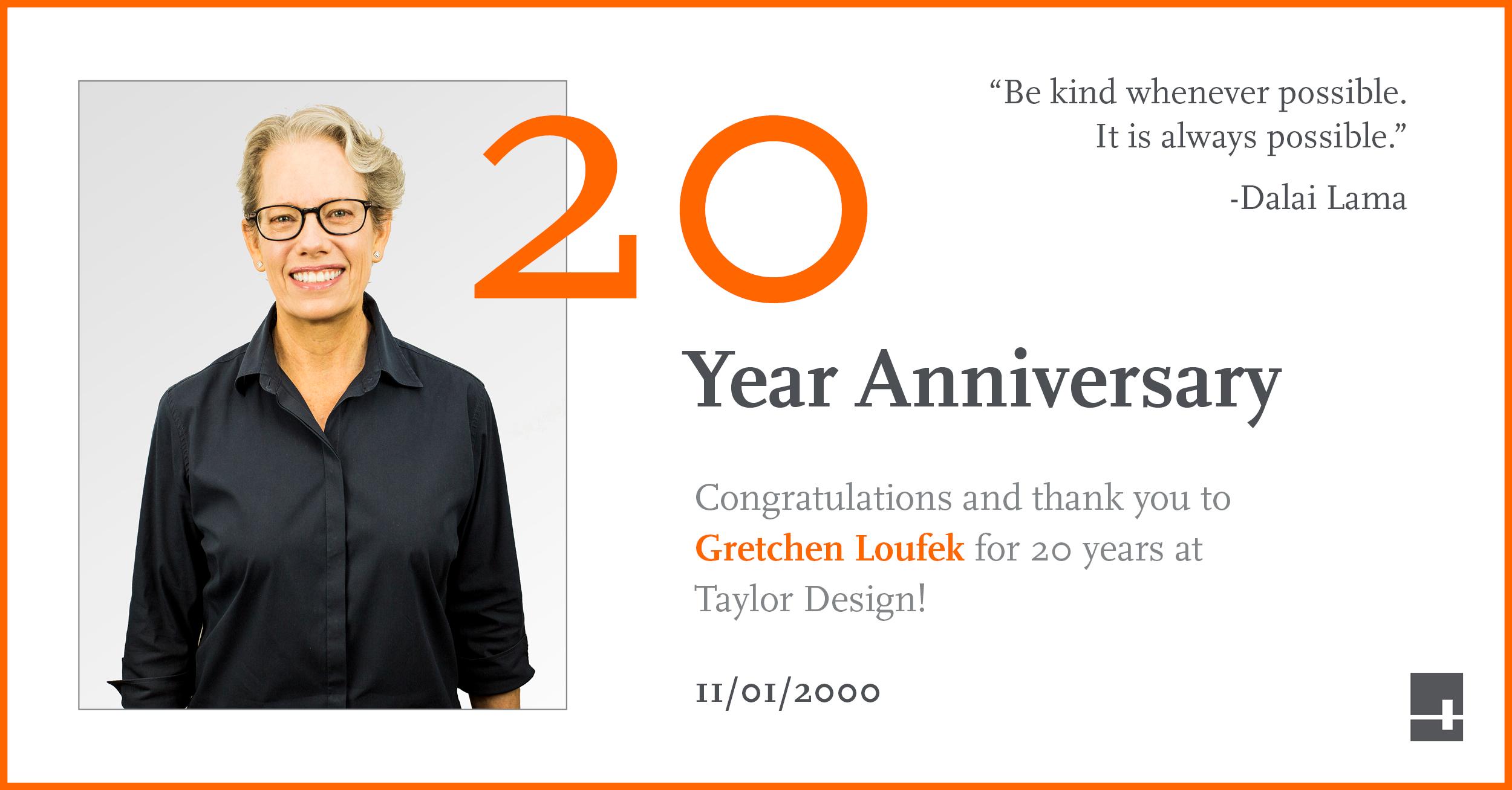 Gretchen Loufek celebrating 20 years at Taylor Design