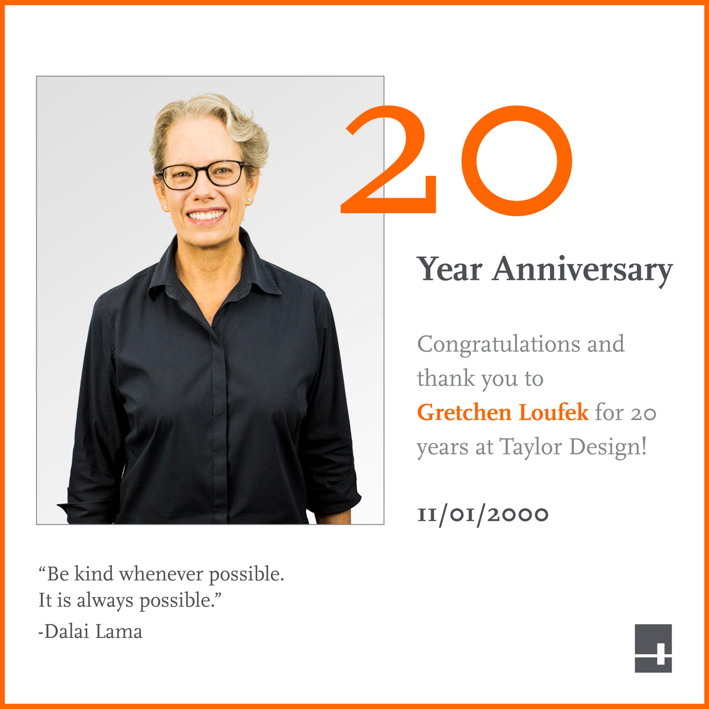 Gretchen Loufek 20th Anniversary