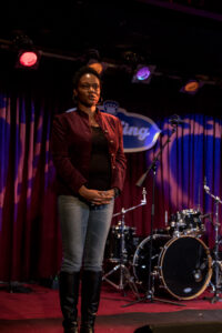 Producer Natalie Hodge on set at B B King Club (Times Square, NY)