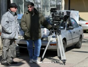 Dir. Frank Calo and Co-Writer Rick Martinsen on locationOn Set