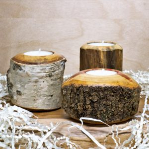 Larry Cluchey Live Edge Wood Tealight Candle Holder