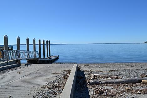 The Port of South Whidbey's Bush Point Boat Launch and Pier on the West side of Freeland. Some of the best fishing areas are easily accessed from here! Accessible restrooms and parking. Beach access and gorgeous views.