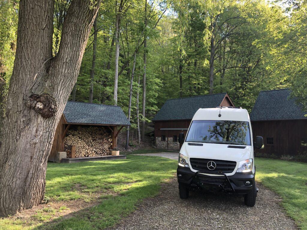 Mercedes motorhome traveling