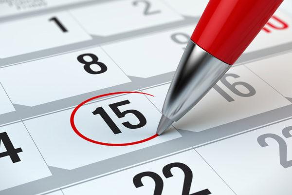 Calendar marking due dates