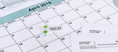 Calendar with April 17, 2018 clearly marked with green pushpin.