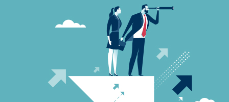 Graphic of man and woman dressed in business suits, looking out over the horizon with a telescope, Bruton, Nissen and Schellberg can help you with your Taxes, Accounting and Bookkeeping in Bellingham, WA.