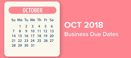 October 2018 calendar with due dates marked on it. Taxes Accounting and Bookkeeping in Bellingham, WA