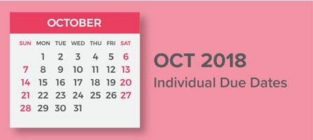 OCtober 2018 calendar with dates marked. Taxes Accounting and Bookkeeping in Bellingham, WA