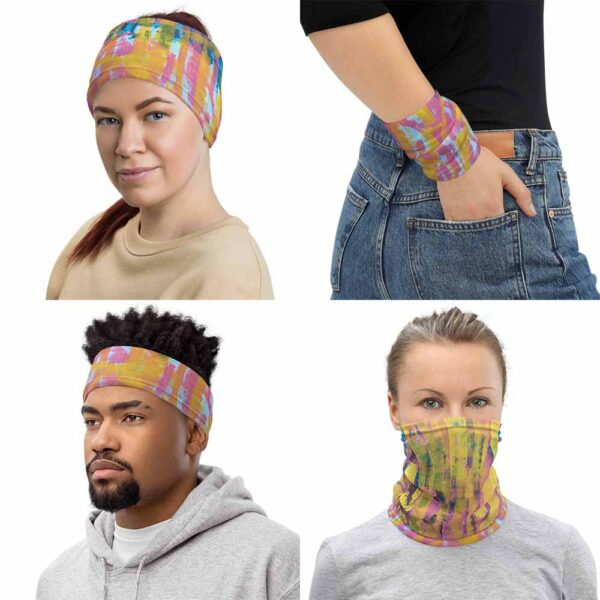 Image shows four different ways to wear Transmutation Multipurpose Mask, as headband, wristband, face covering and bandana. The design of Transmutation Face Mask is original by Bash Art, and combines shades of pink, blue and yellow.