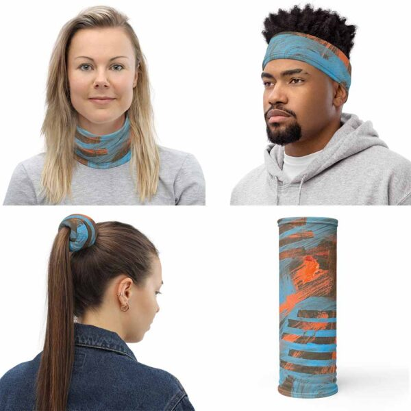 Four images of multipurpose Volcano Face Mask, by Bash Art. The colorful piece combines shades of red and blue. The piece can be use as neck warmer, headband, and bandana.