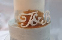 Grey white and copper wedding cake