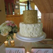 gold sprinkles wedding cake