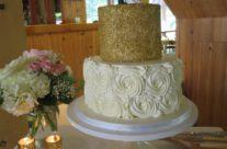 gold sprinkles wedding cake