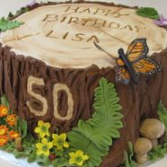 Rustic log birthday cake