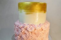 pink and gold shower cake