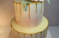 Gold drip shower cake