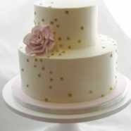 Gold and pink buttercream wedding cake