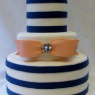 Navy and Coral cake