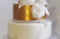 Grey, White and Gold Wedding Cake