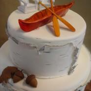 Muskoka chairs wedding cake