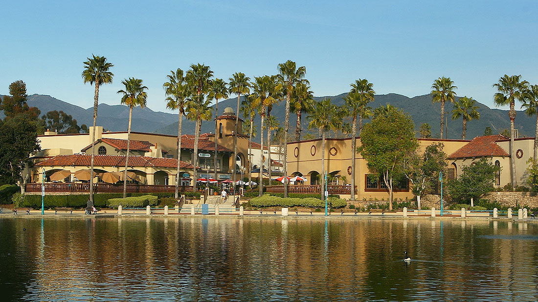 View of the waterfront at Mercado del Lago shopping center in Orange County