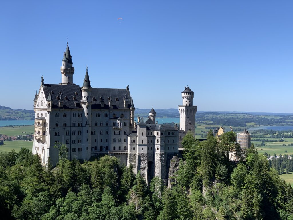 View of Schloss Neuschwanstein from the Marienbruecke