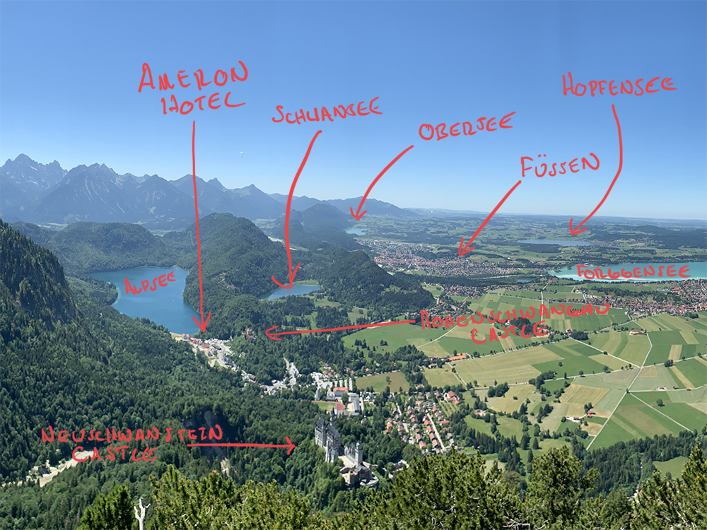 Annotated map of the region around the Ameron Neuschwanstein and Fuessen area.