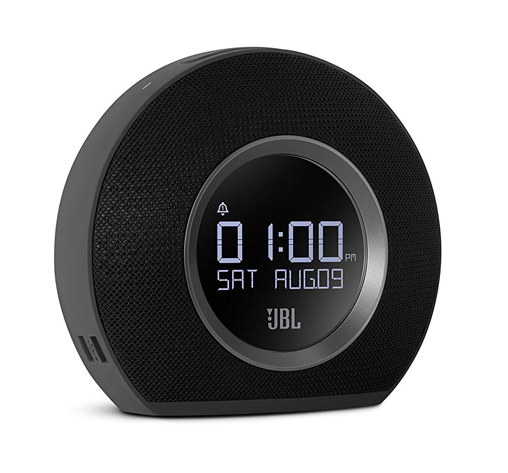 Clock with USB outlets and bluetooth speaker.