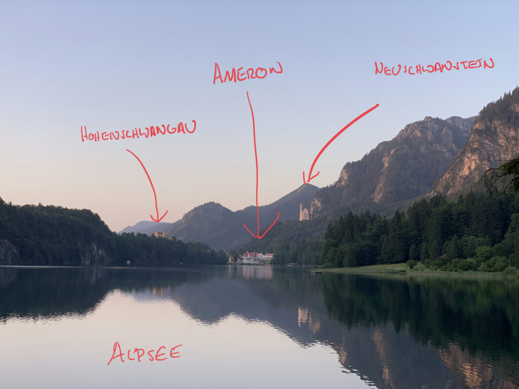 Annotated view of the Alpsee in relation to Schloss Neuschwanstein, and Schloss Hohenschwangau