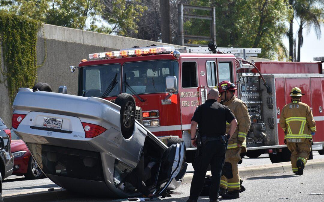 Fire truck at car accident scene