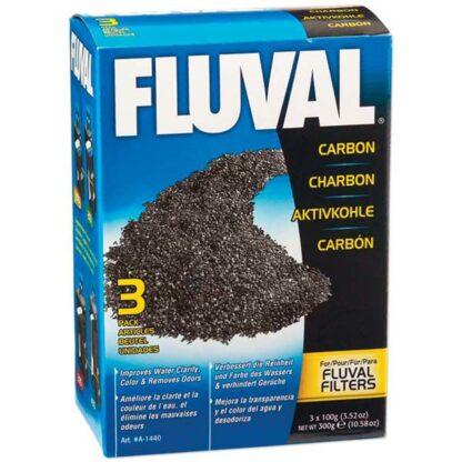 Fluval Carbon Filter Media, 100 gram (3/pk nylon bags)