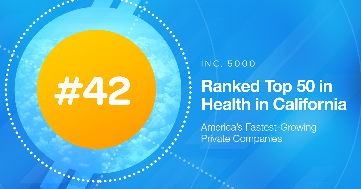 Graphic Showcasing CHI getting ranked #42 in Health in California for Inc 5000 list 2019