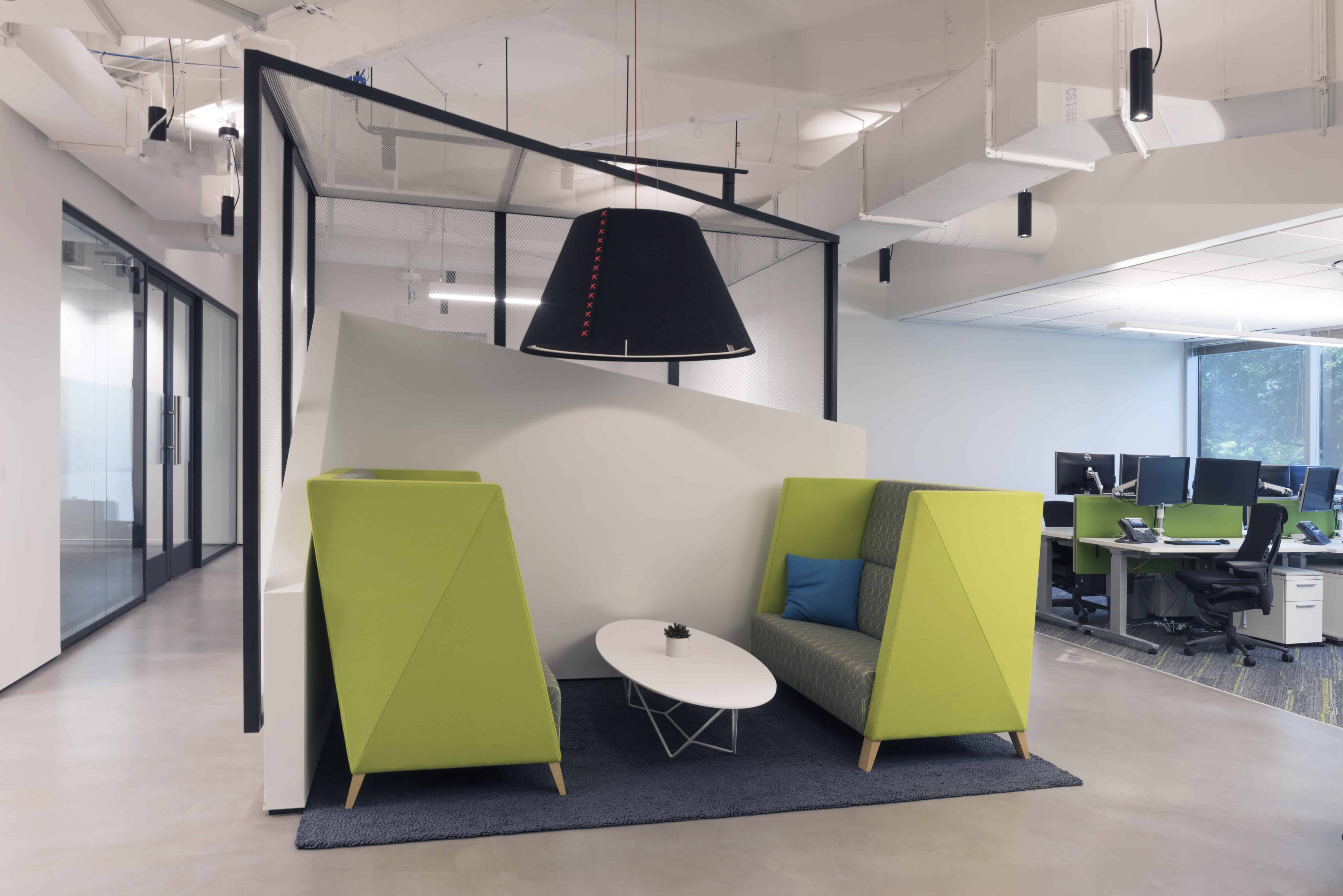Austin Tech Office collaborative seating in open office workplace